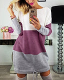 Curvedgirl Colorblock Round Neck Long Sleeve Sweater Dress(3 Colors)