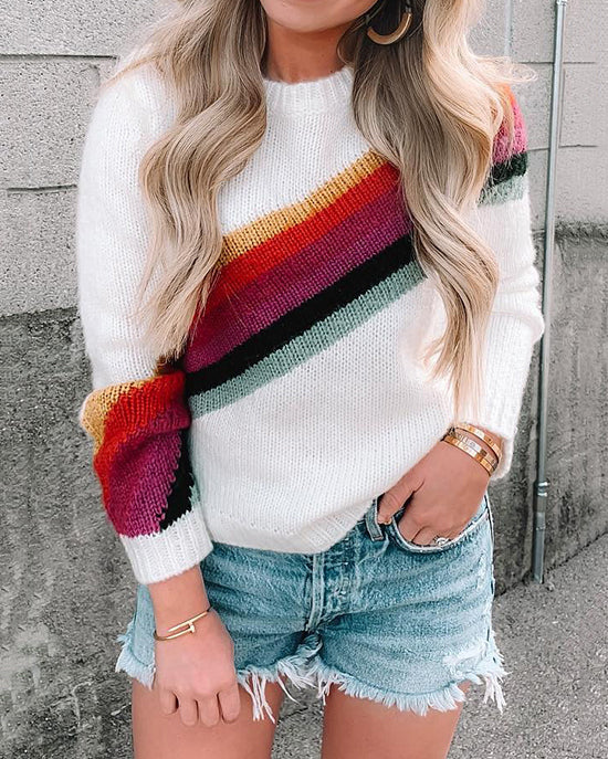 Curvedgirl Round Neck Striped Color Matching Sweater