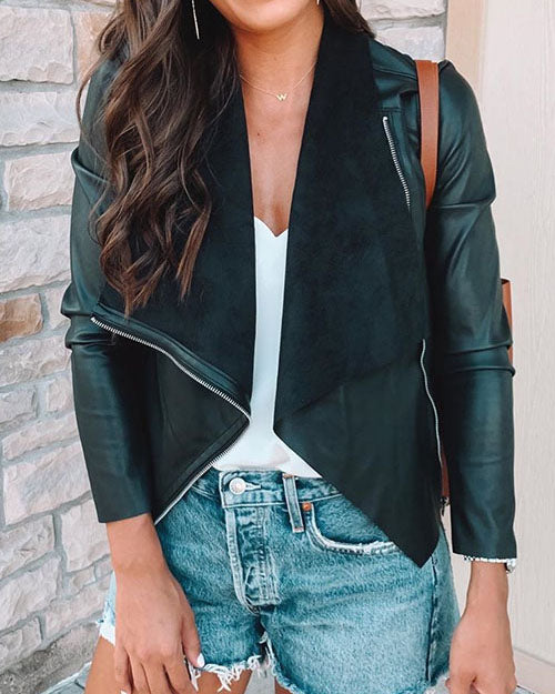 Curvedgirl Washed Leather Lapel Zipper Slim Leather Jacket