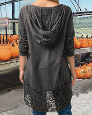 Curvedgirl Pumpkin Color Lace stitching hooded T-shirt
