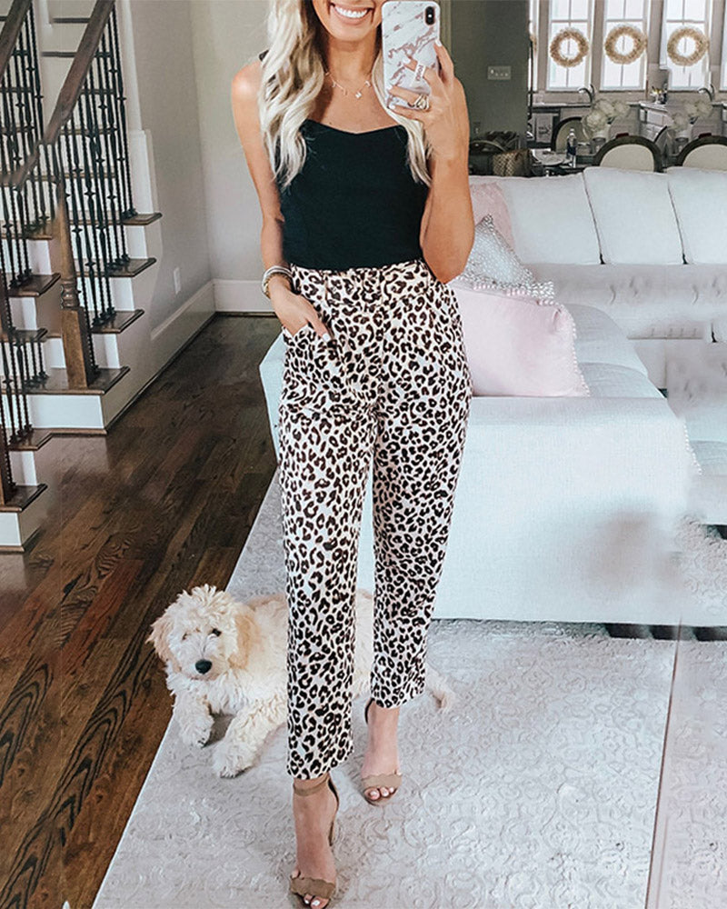 Curvedgirl Leopard Print Tie With Slacks