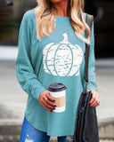 Curvedgirl Round Neck Pumpkin Print Long Sleeve T-Shirt(7 Colors)