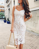 Curvedgirl Solid Color Lace Sling Jumpsuit