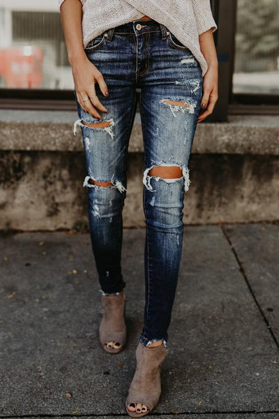 Curvedgirl Distressed Broken Holes Blue Denim Pants