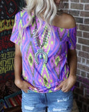 Off Shoulder Print T-shirt