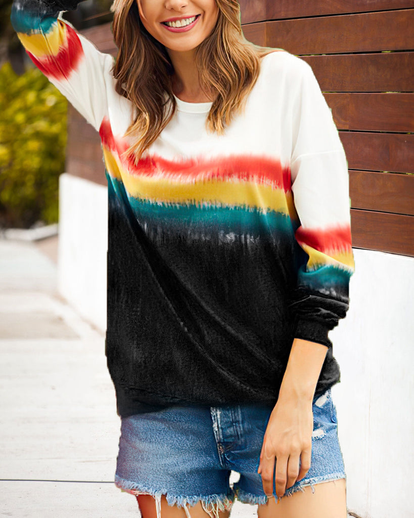 Curvedgirl O Neck Gradient Black Sweatshirt(4 Colors)