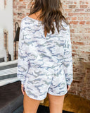 Curvedgirl Round Neck Long Sleeve Camouflage Jumpsuit