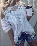Curvedgirl Round Neck Strapless Lace Stitching Shirt