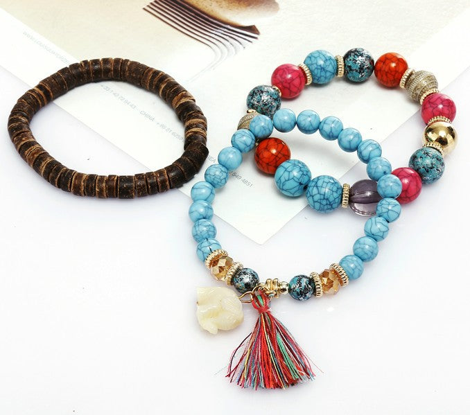 Curvedgirl Colorful Beads Fringed Jade Bracelet