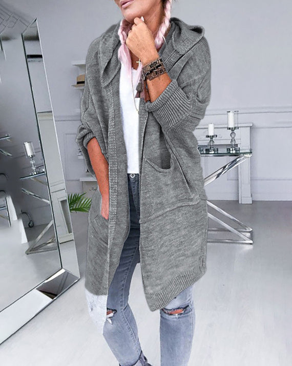 Curvedgirl Lapel Hooded Gray Cardigan