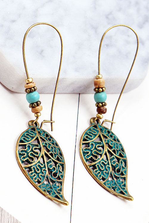 Curvedgirl Vintage Openwork Leaf Long Earrings
