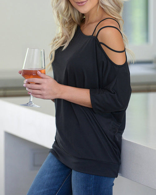 Curvedgirl Off-The-Shoulder Solid Color Sleeve T-Shirt