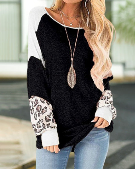 Loose Leopard-Patterned Long-Sleeved T-Shirt (4 Colors)