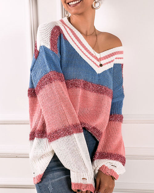Curvedgirl V-Neck Slanted Shoulder Rainbow Color Matching Loose Sweater