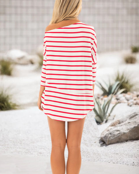 Loose One-Shoulder Mid Sleeve Striped T-Shirt (3 Colors)