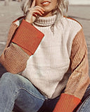 Curvedgirl Three-Color Color Matching Turtleneck Sweater