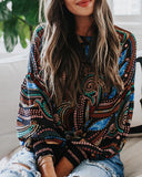 Curvedgirl Whistle Printed Round Neck Long Sleeve Shirt