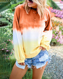 Curvedgirl Round Neck Gradient Loose Knit Long Sleeve T-shirt Sweatshirt