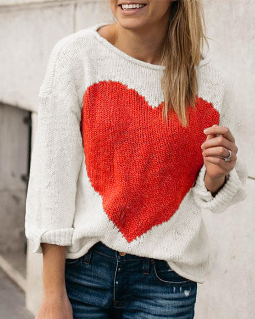 Curvedgirl Lovely Heart Color Matching Sweater