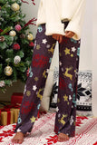 Curvedgirl Christmas Print Stitching Wide-Leg Pants