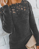 Curvedgirl Lace-Paneled Long-Sleeve Sweater