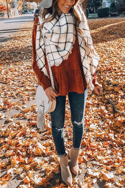Curvedgirl Black And White Color Matching Plaid Scarf