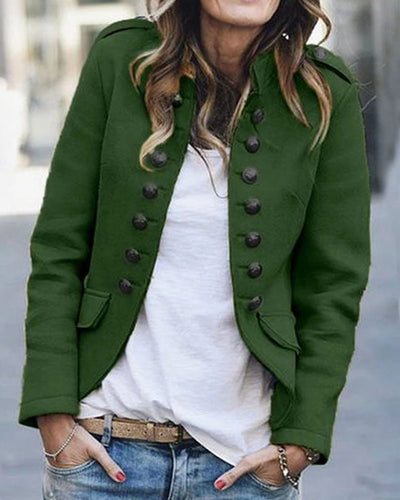 Curvedgirl Buttons Design Army Green Coat(3 Colors)