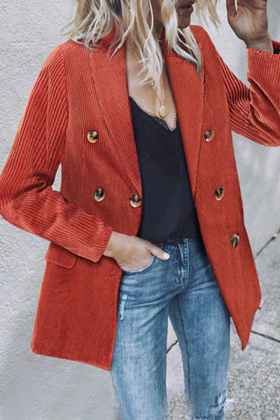 Curvedgirl Solid Color Corduroy Double-Breasted Blazer