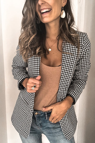 Curvedgirl Single-Breasted Black And White Plaid Blazer