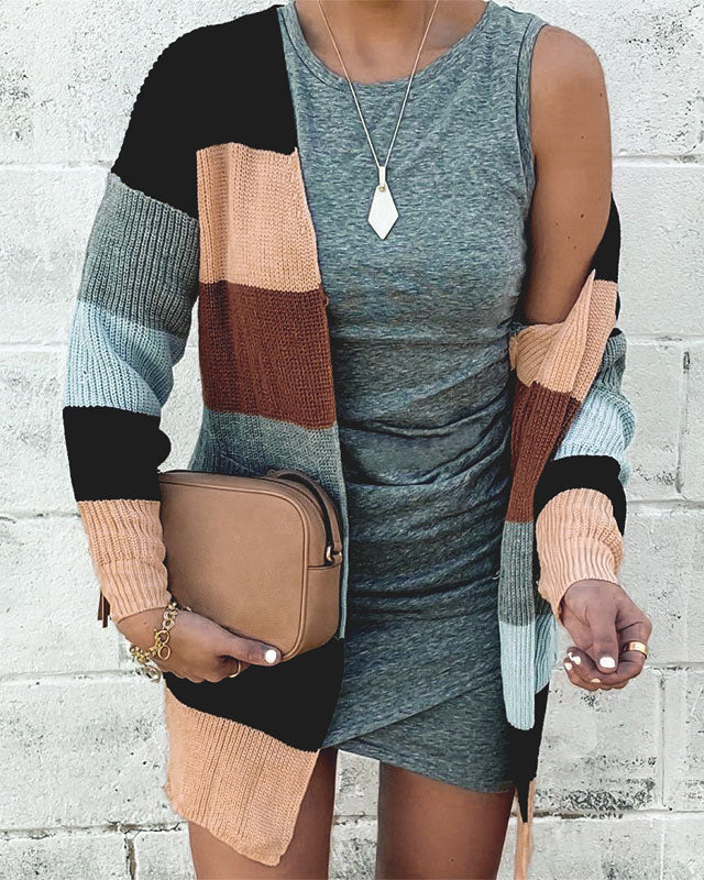 Curvedgirl Colorblock Plush Cardigan Coat
