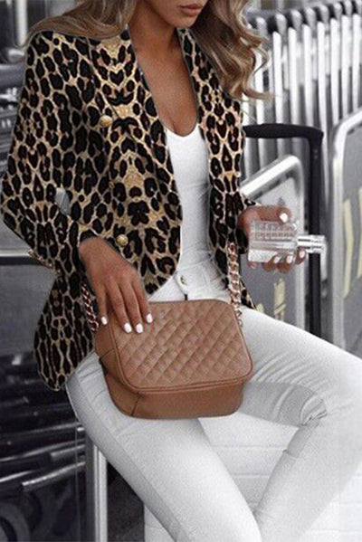 Curvedgirl Button Design Leopard Print Black Blazer
