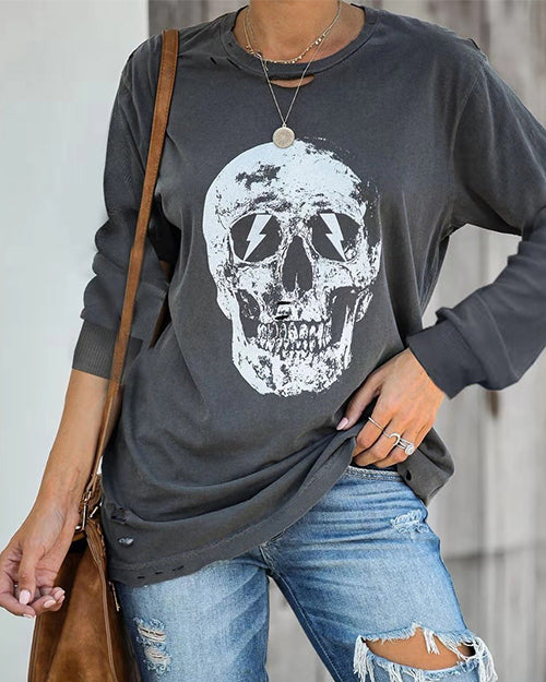 Curvedgirl Skull Printed Dark Gray O Neck T-shirt