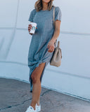 Curvedgirl Solid Color Round Neck Split Dress