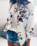 Curvedgirl Casual Printed Zipper Coat