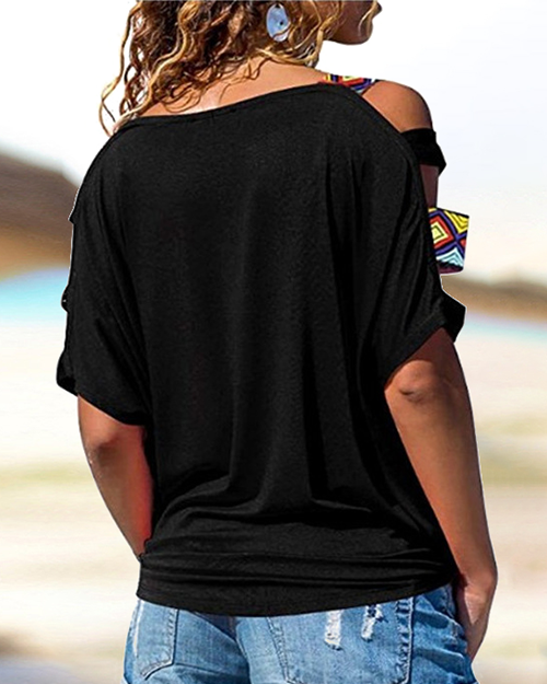 Curvedgirl Solid color off-the-shoulder hollow T-shirt