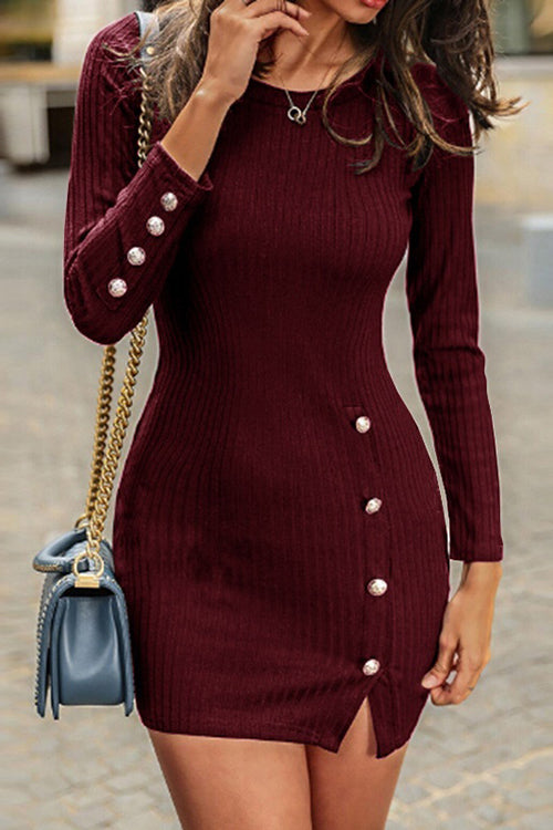 Curvedgirl Dot Buttons Decorative Slim Dress(3 Colors)