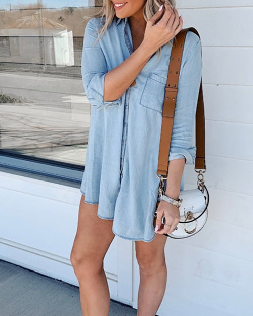 Curvedgirl Lapel Long Sleeve Denim Shirt Dress
