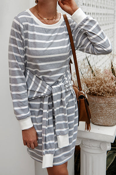 Curvedgirl Striped Knot Design Midi Dress
