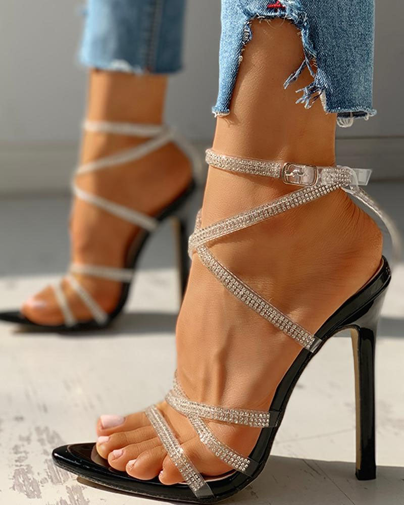 Studded Multi-Strap Lace-Up Thin Heeled Sandals