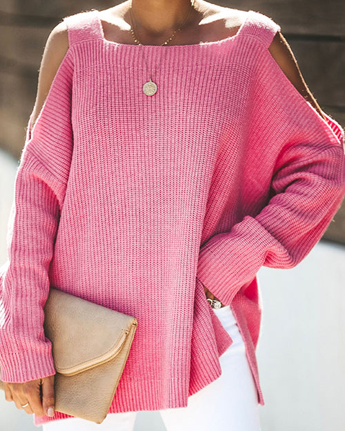 Curvedgirl Solid Color Sling Strapless Long Sleeve Loose Knit Sweater