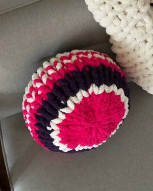 "16"" Purple and Hot Pink Chunky Knit Circle Throw Pillow"