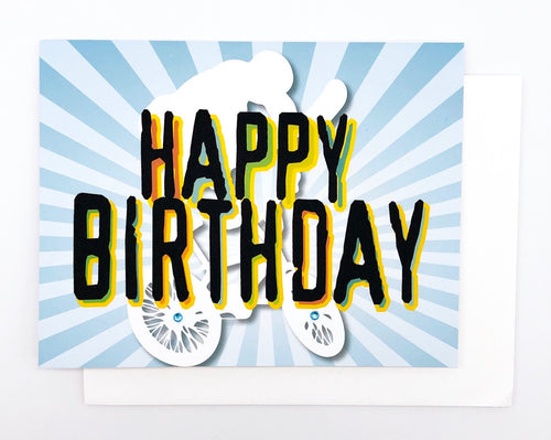 Happy Birthday BMX - GREETING CARD Blue