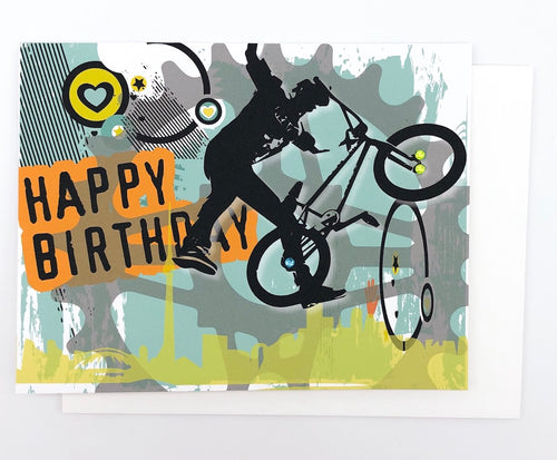 Happy Birthday BMX Tricks - GREETING CARD
