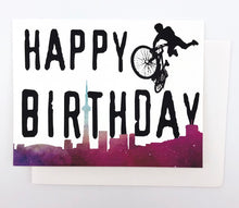 Load image into Gallery viewer, Happy Birthday BMX Toronto Skyline - GREETING CARD Red