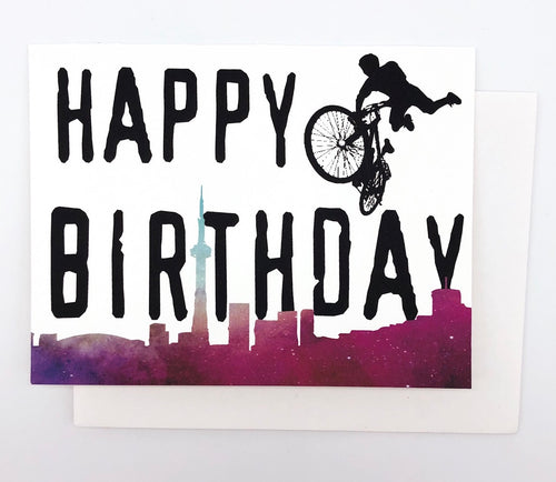 Happy Birthday BMX Toronto Skyline - GREETING CARD Red