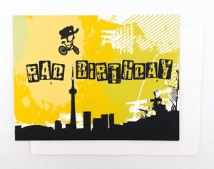 Happy Birthday BMX Toronto Skyline - GREETING CARD Yellow