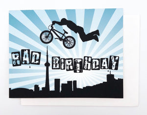 Happy Birthday BMX Toronto Skyline - GREETING CARD Blue
