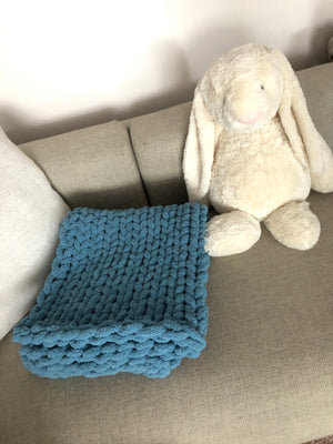Healing Hand, Chunky Knit Baby Blankets - Blue