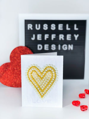 Valentine's Day Greeting Card Gold & Pearl Heart with Love