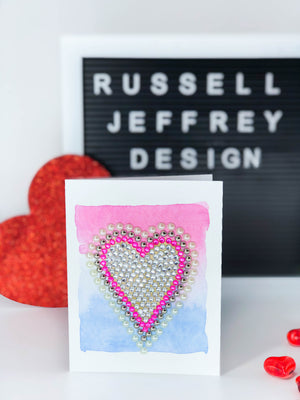 Valentine's Day Greeting Card Heart Card on Pink White and Blue Water Colour